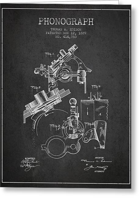 Edison Greeting Cards - Thomas Edison Phonograph patent from 1889 - Charcoal Greeting Card by Aged Pixel