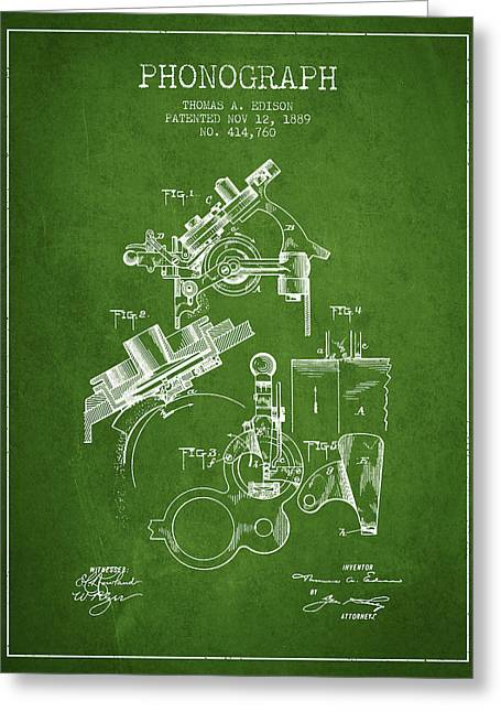 Edison Greeting Cards - Thomas Edison Phonograph patent from 1889 - Green Greeting Card by Aged Pixel