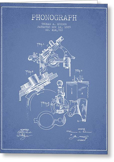 Edison Greeting Cards - Thomas Edison Phonograph patent from 1889 - Light Blue Greeting Card by Aged Pixel