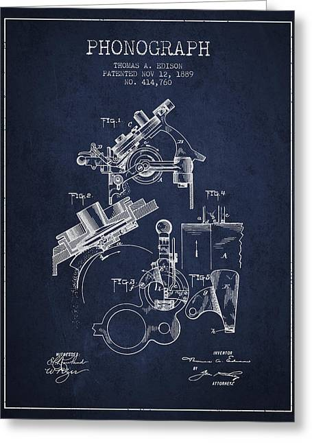 Edison Greeting Cards - Thomas Edison Phonograph patent from 1889 - Navy Blue Greeting Card by Aged Pixel