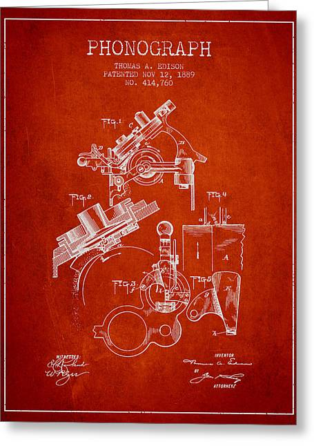 Edison Greeting Cards - Thomas Edison Phonograph patent from 1889 - Red Greeting Card by Aged Pixel