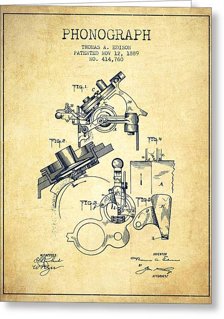 Thomas Edison Phonograph Patent From 1889 - Vintage Greeting Card by Aged Pixel