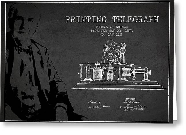 Edison Greeting Cards - Thomas Edison Printing Telegraph Patent Drawing From 1873 - Dark Greeting Card by Aged Pixel
