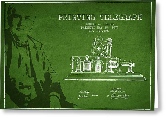 Calling Greeting Cards - Thomas Edison Printing Telegraph Patent Drawing From 1873 - Gree Greeting Card by Aged Pixel