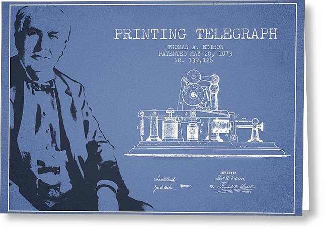 Edison Greeting Cards - Thomas Edison Printing Telegraph Patent Drawing From 1873 - Ligh Greeting Card by Aged Pixel