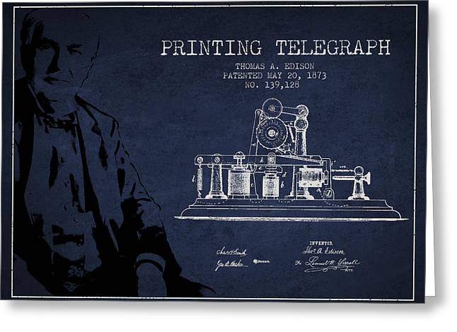 Edison Greeting Cards - Thomas Edison Printing Telegraph Patent Drawing From 1873 - Navy Greeting Card by Aged Pixel
