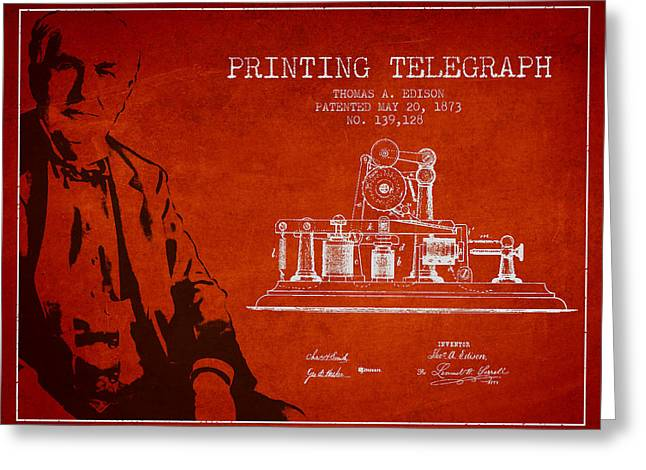 Edison Greeting Cards - Thomas Edison Printing Telegraph Patent Drawing From 1873 - Red Greeting Card by Aged Pixel