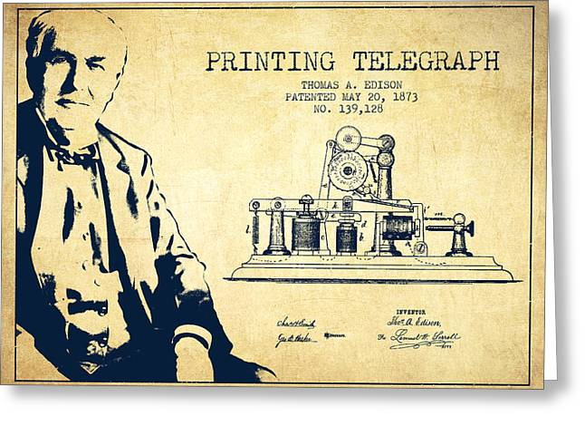 Edison Greeting Cards - Thomas Edison Printing Telegraph Patent Drawing From 1873 - Vint Greeting Card by Aged Pixel