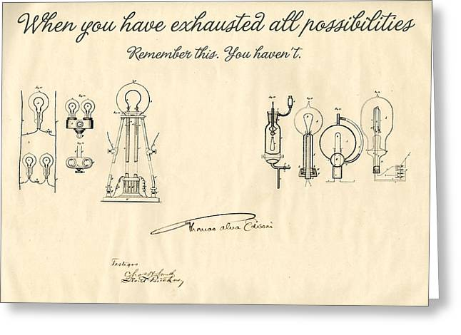 Edison Lamp Greeting Cards - Thomas Edison Quote Greeting Card by Gina Dsgn