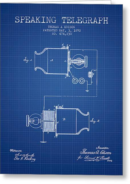 Speaking Greeting Cards - Thomas Edison Speaking Telegraph Patent from 1892 - Blueprint Greeting Card by Aged Pixel