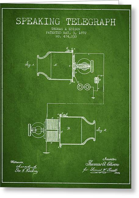 Speaking Greeting Cards - Thomas Edison Speaking Telegraph Patent from 1892 - Green Greeting Card by Aged Pixel