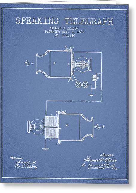 Speaking Greeting Cards - Thomas Edison Speaking Telegraph Patent from 1892 - Light Blue Greeting Card by Aged Pixel