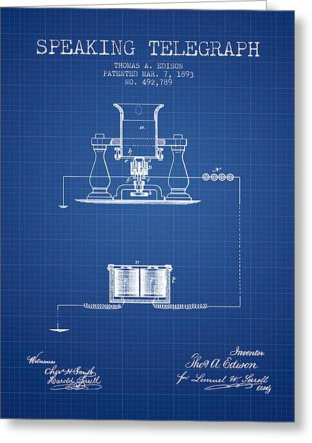 Speaking Greeting Cards - Thomas Edison Speaking Telegraph Patent from 1893 - Blueprint Greeting Card by Aged Pixel