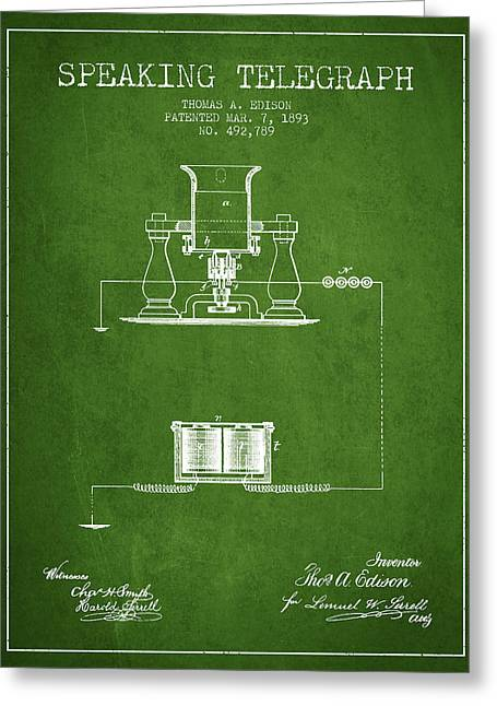 Speaking Greeting Cards - Thomas Edison Speaking Telegraph Patent from 1893 - Green Greeting Card by Aged Pixel