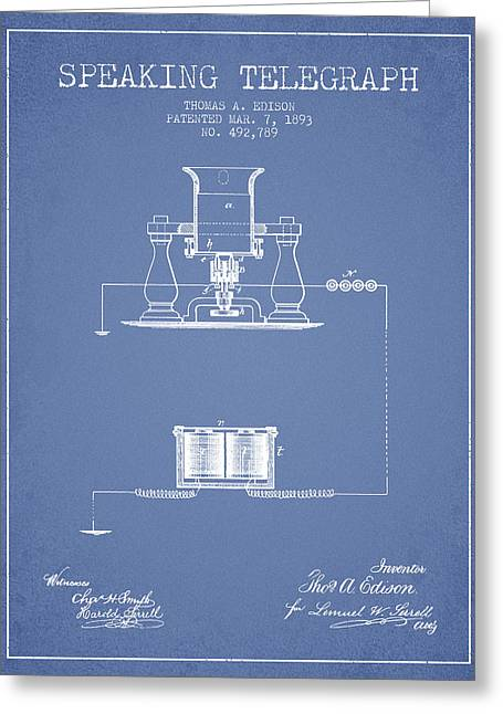 Speaking Greeting Cards - Thomas Edison Speaking Telegraph Patent from 1893 - Light Blue Greeting Card by Aged Pixel