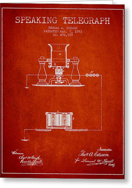 Edison Greeting Cards - Thomas Edison Speaking Telegraph Patent from 1893 - Red Greeting Card by Aged Pixel