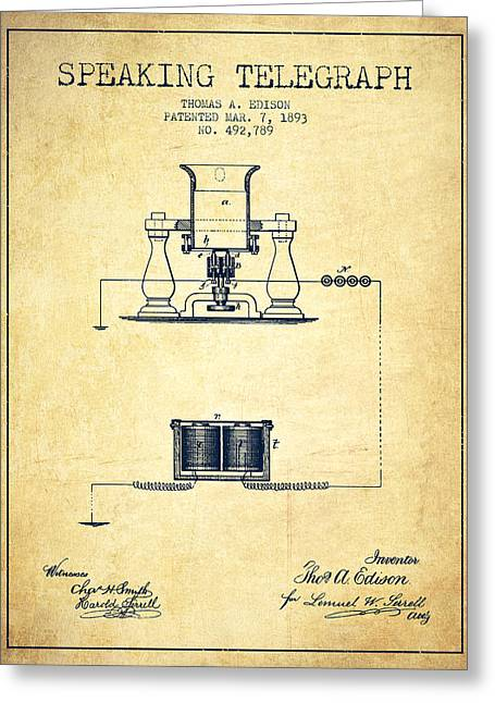 Speaking Greeting Cards - Thomas Edison Speaking Telegraph Patent from 1893 - Vintage Greeting Card by Aged Pixel