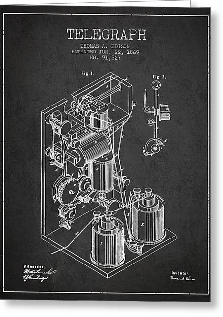 Thomas Edison Telegraph Patent From 1869 - Charcoal Greeting Card by Aged Pixel