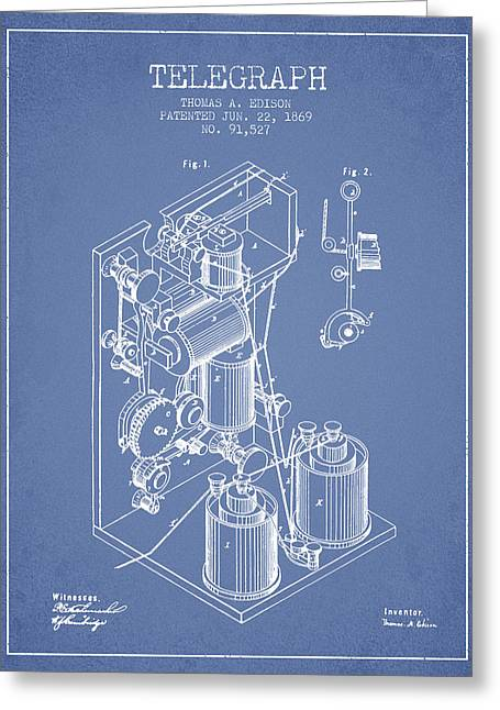 Edison Greeting Cards - Thomas Edison Telegraph patent from 1869 - Light Blue Greeting Card by Aged Pixel
