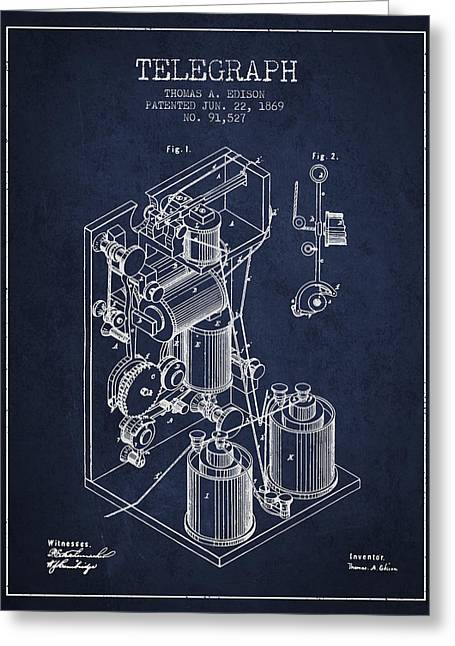 Edison Greeting Cards - Thomas Edison Telegraph patent from 1869 - Navy Blue Greeting Card by Aged Pixel