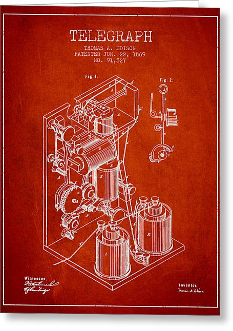 Thomas Greeting Cards - Thomas Edison Telegraph patent from 1869 - Red Greeting Card by Aged Pixel