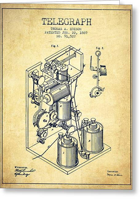 Thomas Greeting Cards - Thomas Edison Telegraph patent from 1869 - Vintage Greeting Card by Aged Pixel