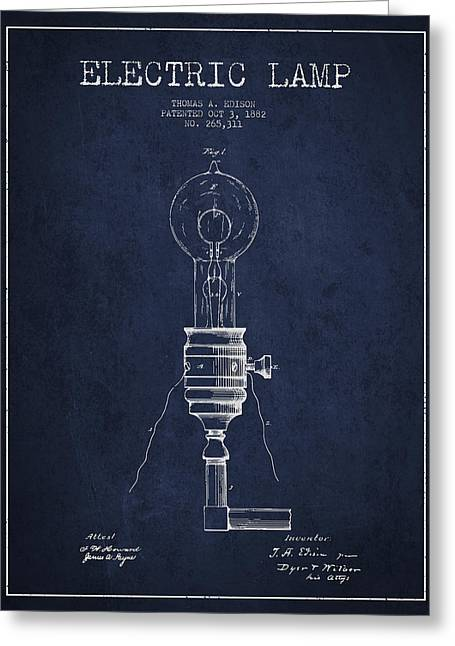Thomas Greeting Cards - Thomas Edison Vintage Electric Lamp Patent from 1882 - Blue Greeting Card by Aged Pixel