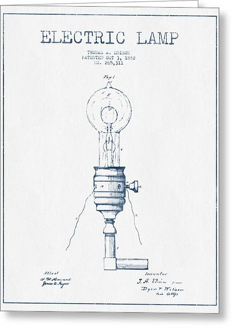 Thomas Greeting Cards - Thomas Edison Vintage Electric Lamp Patent from 1882  - Blue Ink Greeting Card by Aged Pixel