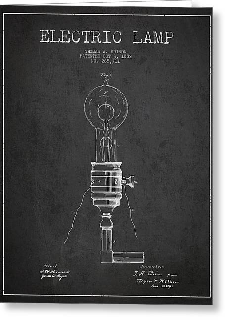 Thomas Edison Greeting Cards - Thomas Edison Vintage Electric Lamp Patent from 1882 - Dark Greeting Card by Aged Pixel