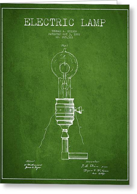 Thomas Edison Greeting Cards - Thomas Edison Vintage Electric Lamp Patent from 1882 - Green Greeting Card by Aged Pixel