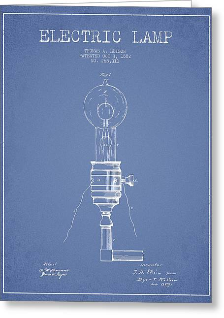 Thomas Greeting Cards - Thomas Edison Vintage Electric Lamp Patent from 1882 - Light Blu Greeting Card by Aged Pixel