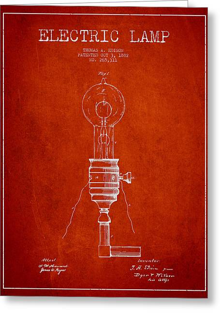 Thomas Greeting Cards - Thomas Edison Vintage Electric Lamp Patent from 1882 - Red Greeting Card by Aged Pixel