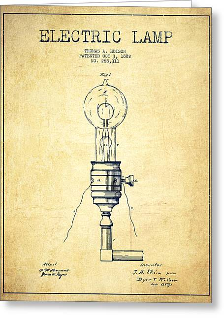 Edison Greeting Cards - Thomas Edison Vintage Electric Lamp Patent from 1882 - Vintage Greeting Card by Aged Pixel