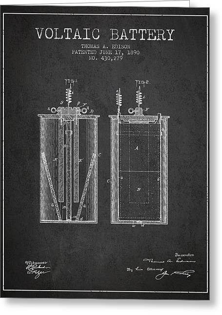 Thomas Edison Voltaic Battery Patent From 1890 - Charcoal Greeting Card by Aged Pixel