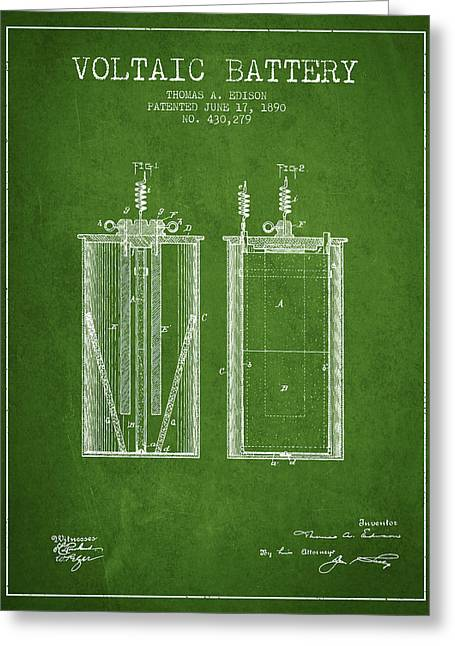 Edison Greeting Cards - Thomas Edison Voltaic Battery Patent from 1890 - Green Greeting Card by Aged Pixel