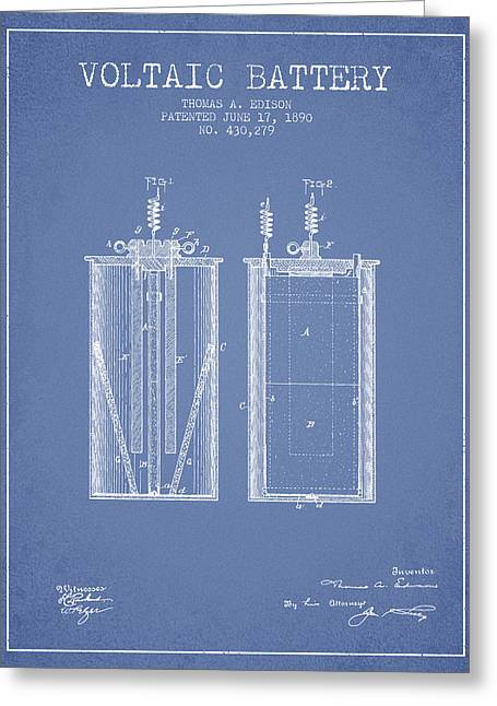 Edison Greeting Cards - Thomas Edison Voltaic Battery Patent from 1890 - Light Blue Greeting Card by Aged Pixel