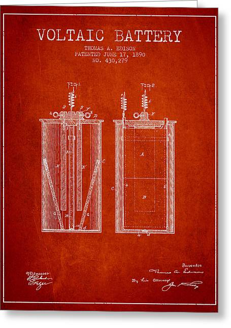 Edison Greeting Cards - Thomas Edison Voltaic Battery Patent from 1890 - Red Greeting Card by Aged Pixel