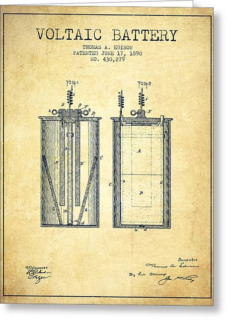 Edison Greeting Cards - Thomas Edison Voltaic Battery Patent from 1890 - Vintage Greeting Card by Aged Pixel