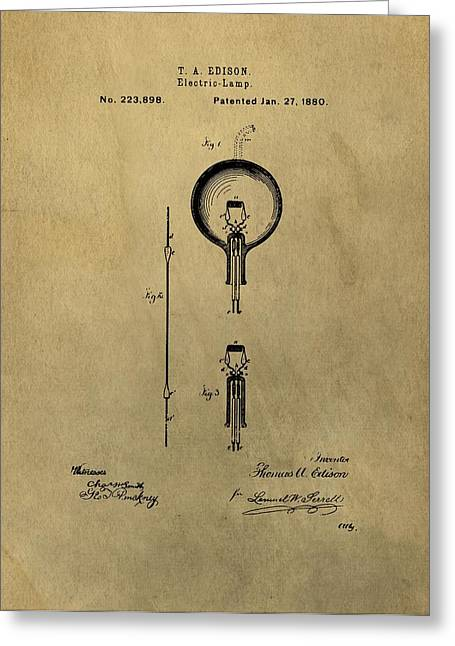 Wire Mixed Media Greeting Cards - Thomas Edisons Electric Lamp Patent Illustration Greeting Card by Dan Sproul