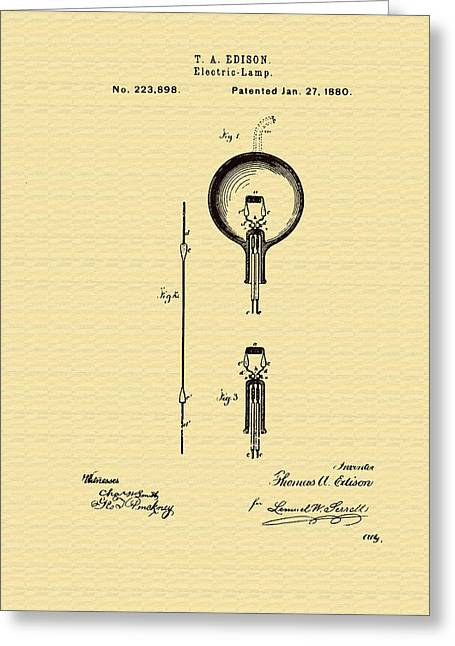 1880s Greeting Cards - Thomas Edisons Electric Lamp Patent Greeting Card by Mountain Dreams