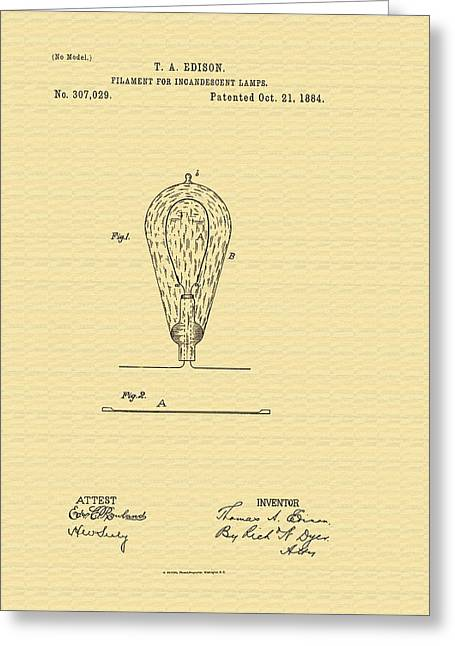 Edison Lamp Greeting Cards - Thomas Edisons Lamp Filament Patent - 1884 Greeting Card by Mountain Dreams
