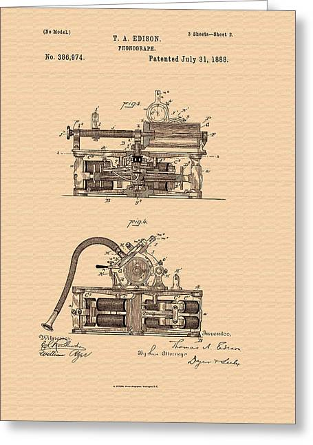 1880s Greeting Cards - Thomas Edisons Phonograph Patent Greeting Card by Mountain Dreams