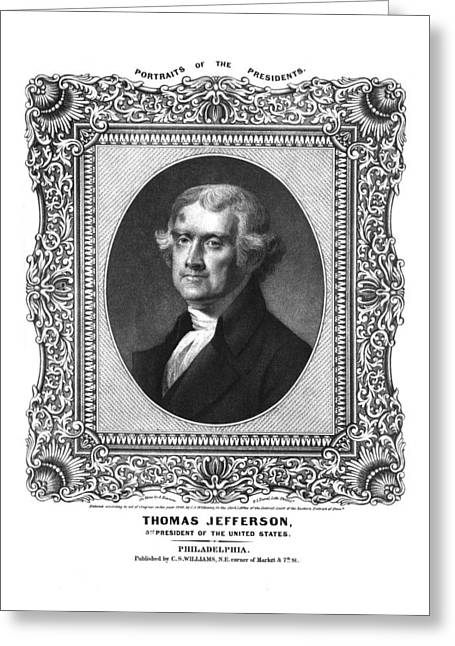 Governors Greeting Cards - Thomas Jefferson Greeting Card by Aged Pixel
