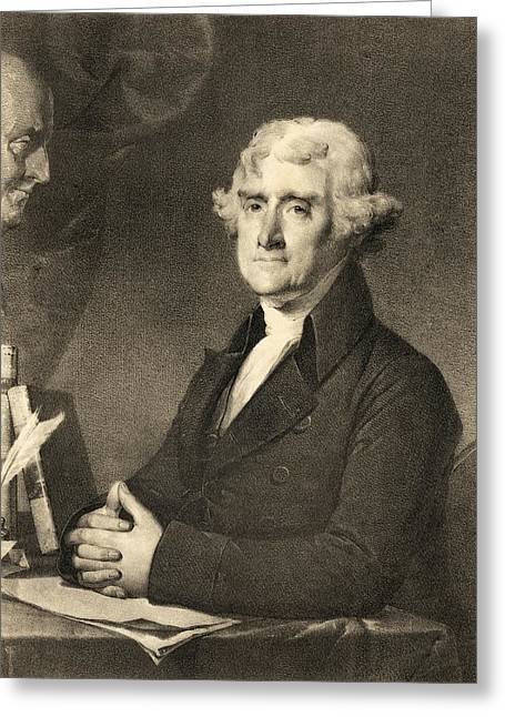 Declaration Of Independence Drawings Greeting Cards - Thomas Jefferson Greeting Card by American School