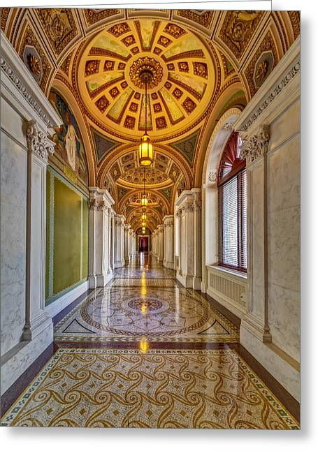 Beaux-arts Greeting Cards - Thomas Jefferson Building Hall Greeting Card by Susan Candelario