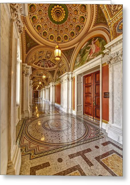 Beaux-arts Greeting Cards - Thomas Jefferson Building Hallway Greeting Card by Susan Candelario