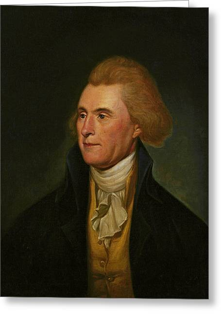 Jefferson Paintings Greeting Cards - Thomas Jefferson Greeting Card by Charles Wilson Peale
