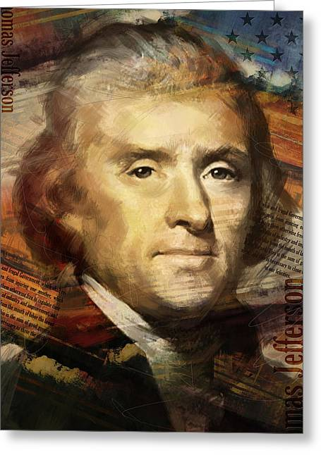 Jefferson Paintings Greeting Cards - Thomas Jefferson Greeting Card by Corporate Art Task Force