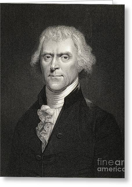 Declaration Of Independence Drawings Greeting Cards - Thomas Jefferson Greeting Card by English School