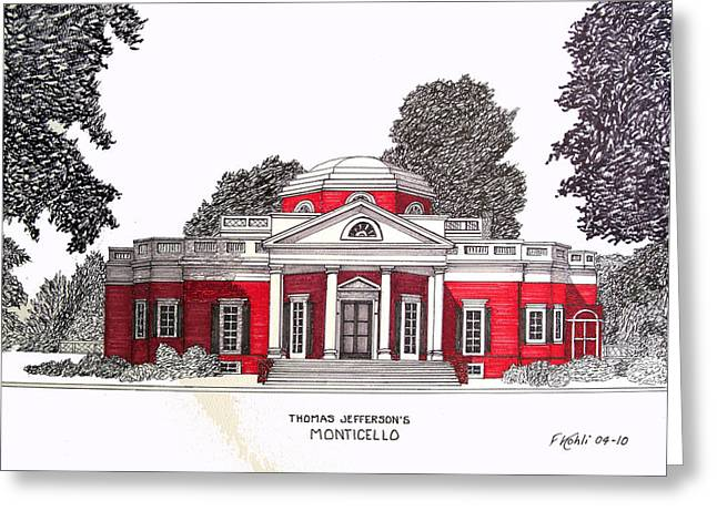 Historic Buildings Images Drawings Greeting Cards - Thomas Jefferson Greeting Card by Frederic Kohli